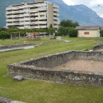 Reperti romani nei giardini di Martigny